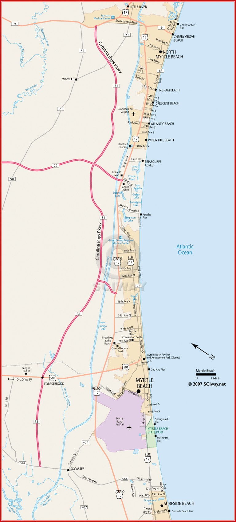 North Myrtle Beach Hotel Map
