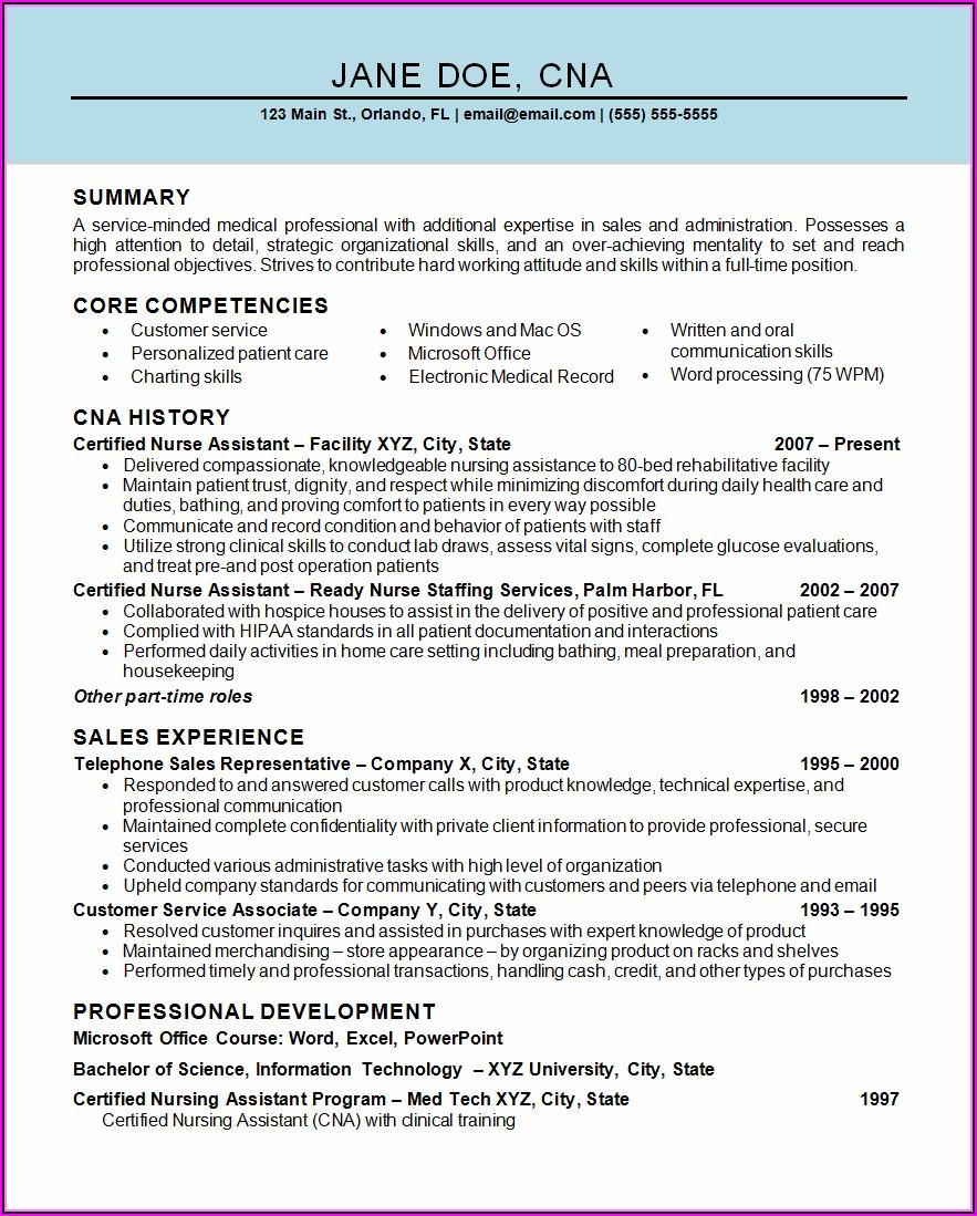 Nursing Assistant Job Resume Template