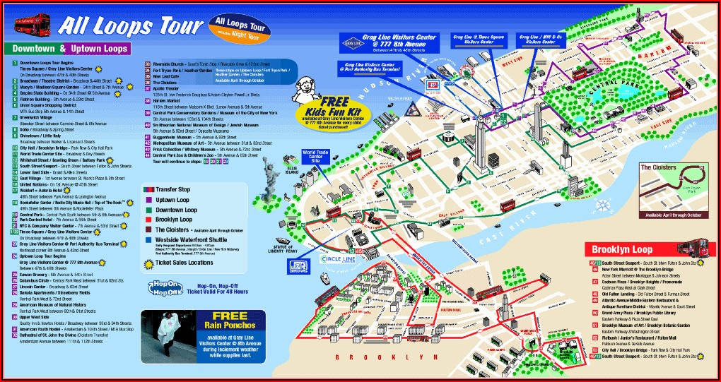 Nyc Hop On Hop Off Bus Route Map Grayline