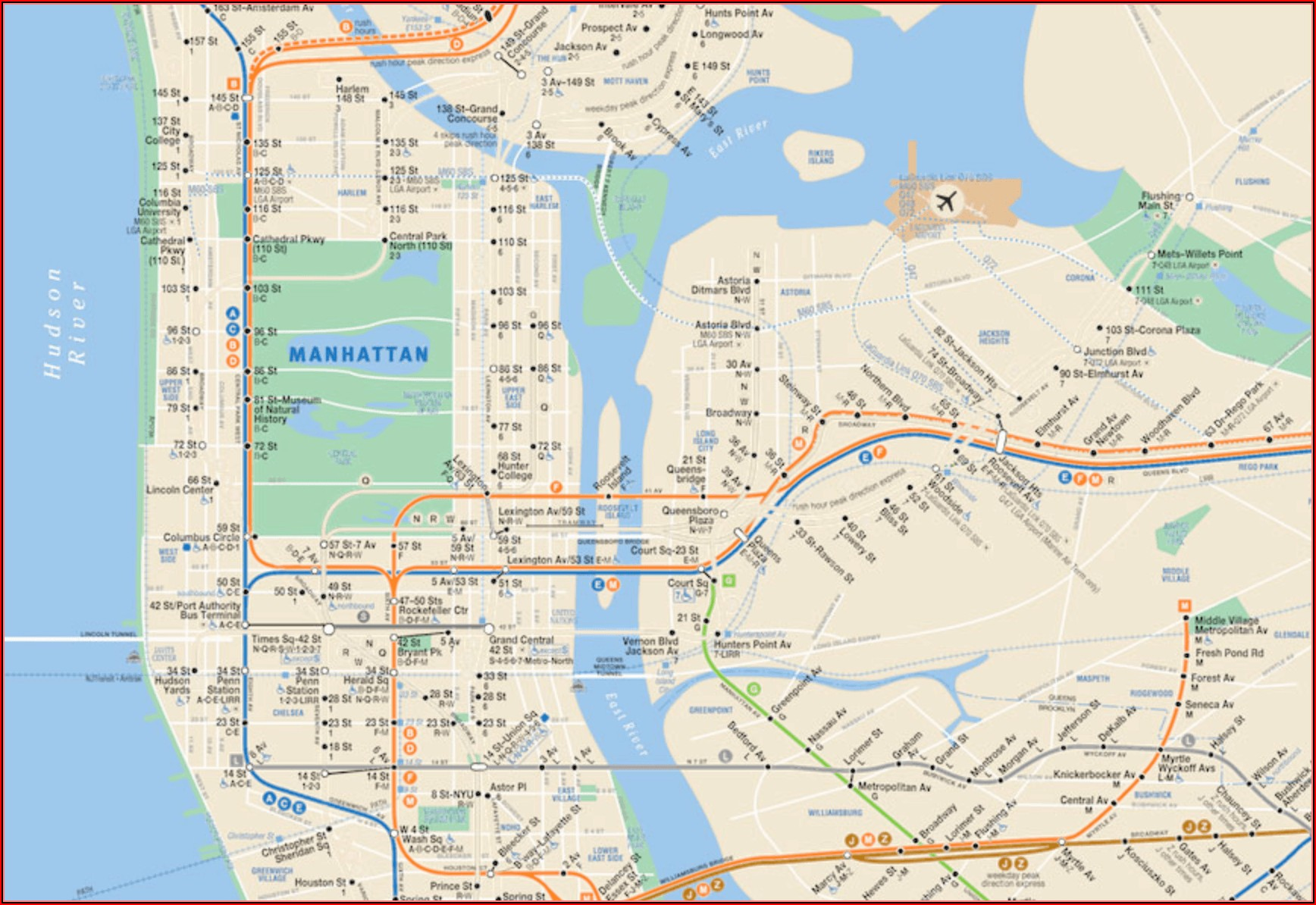 Nyc Subway Map Manhattan Only Pdf
