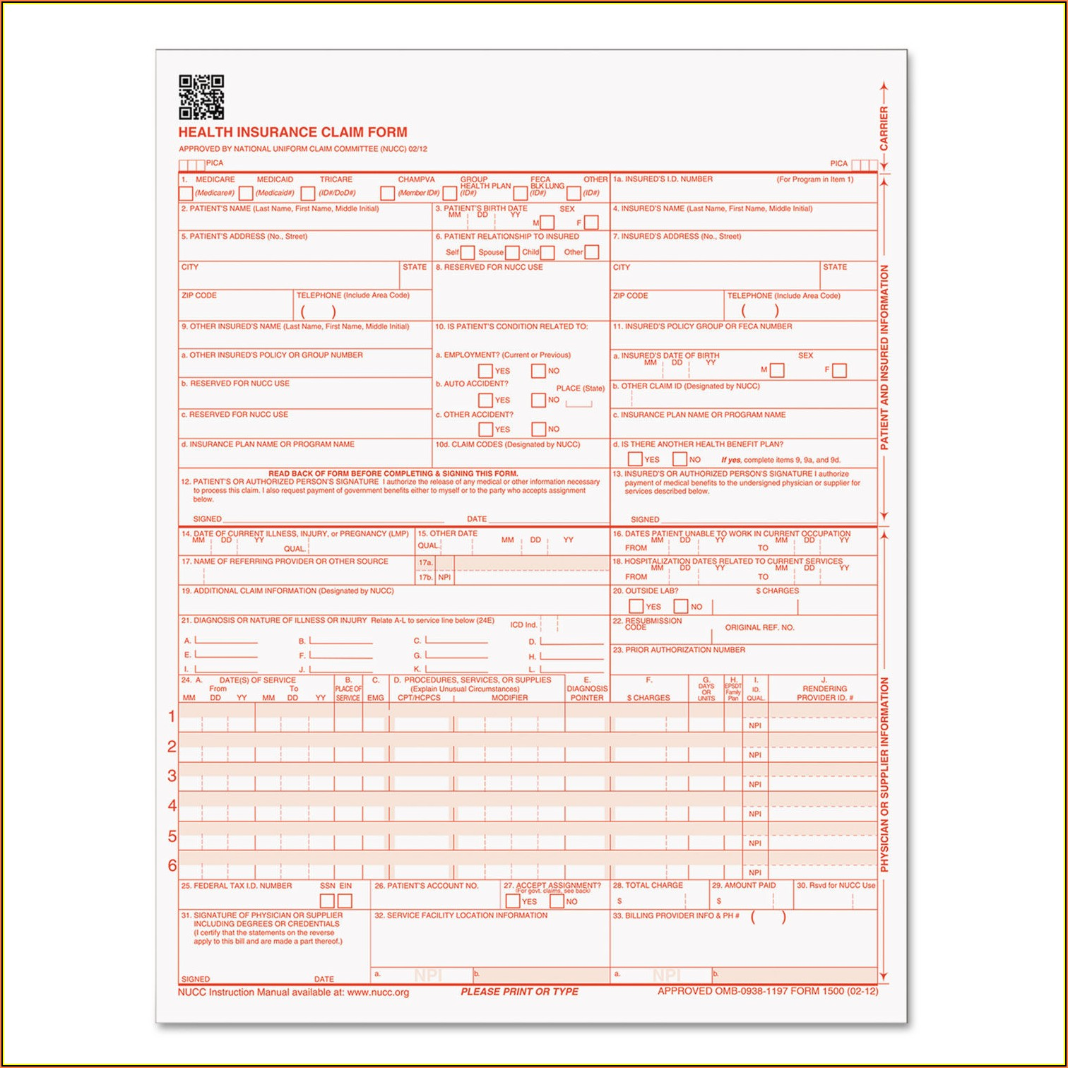 Office Depot Cms 1500 Form