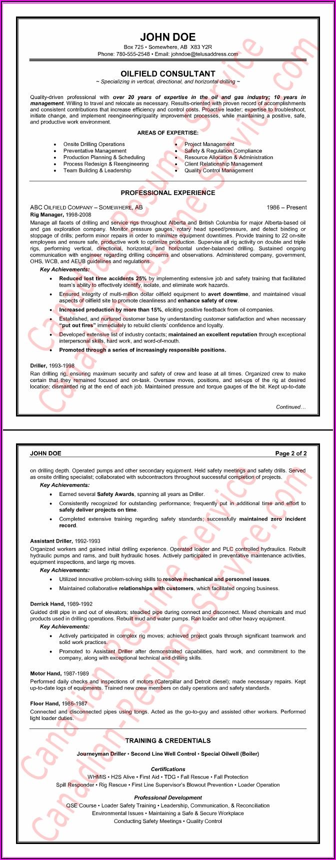 Oil Field Resume Templates