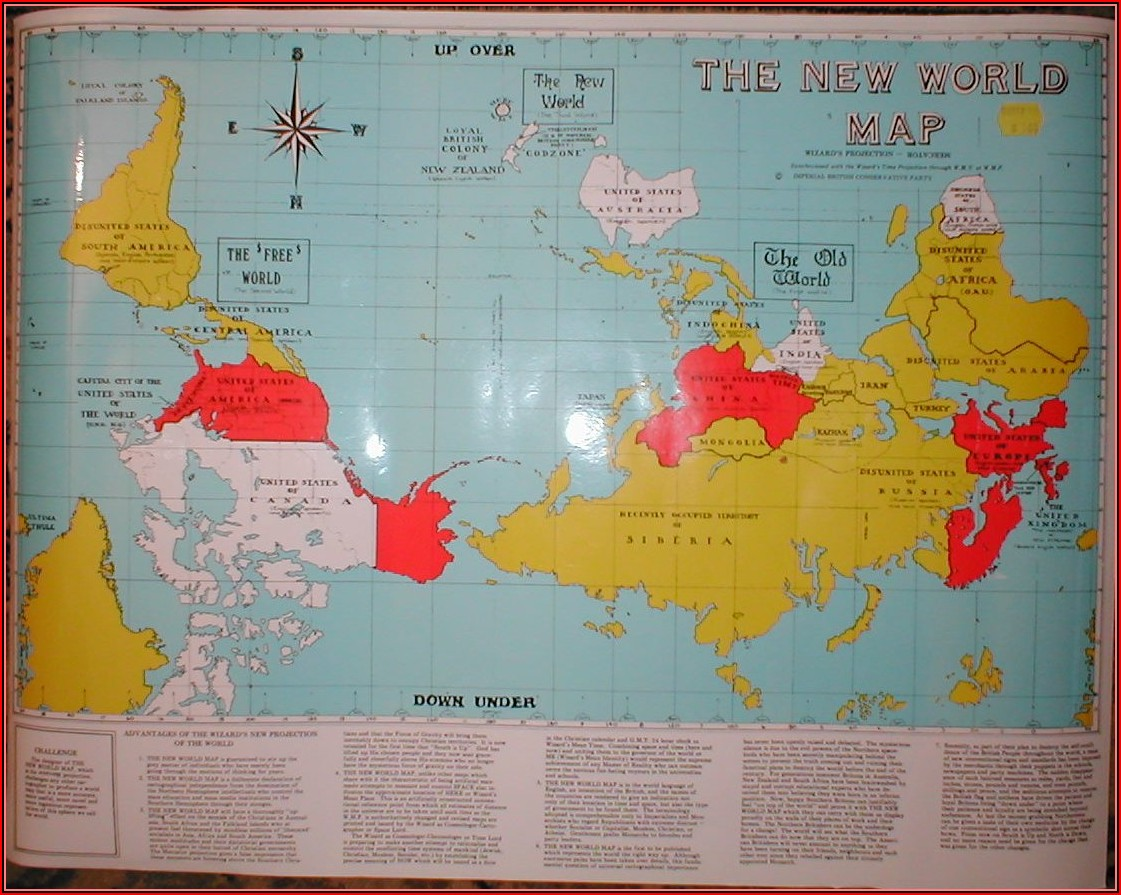Old Map Of The World Upside Down