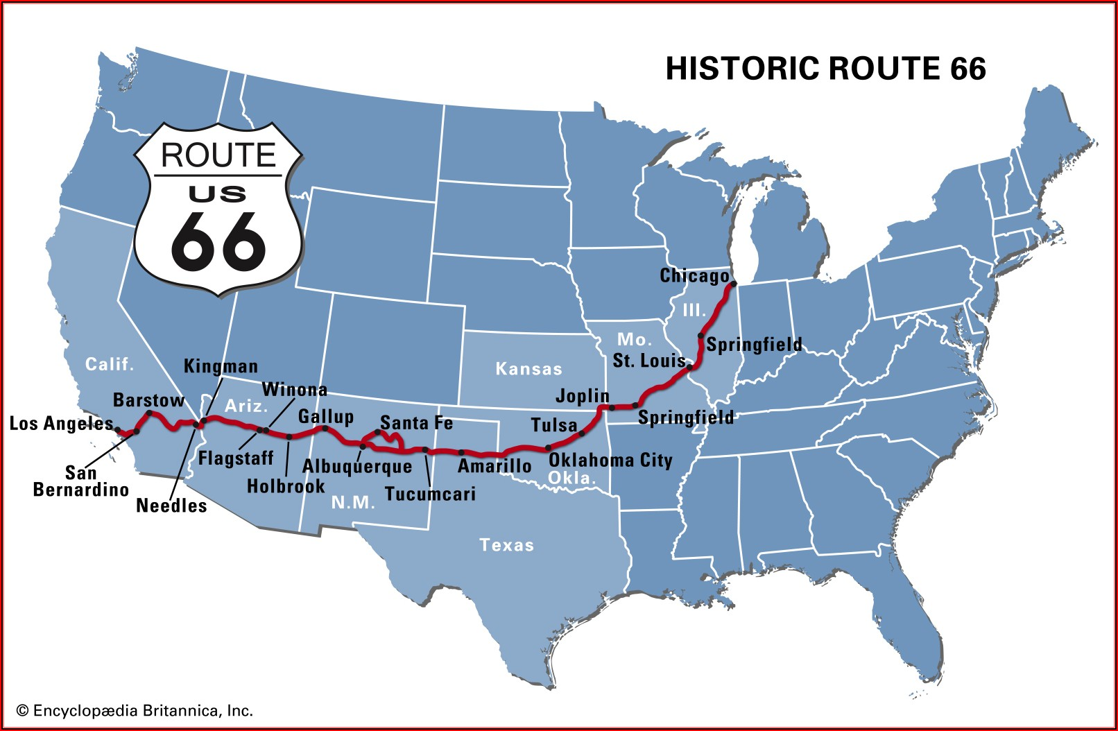 Old Route 66 Map Usa