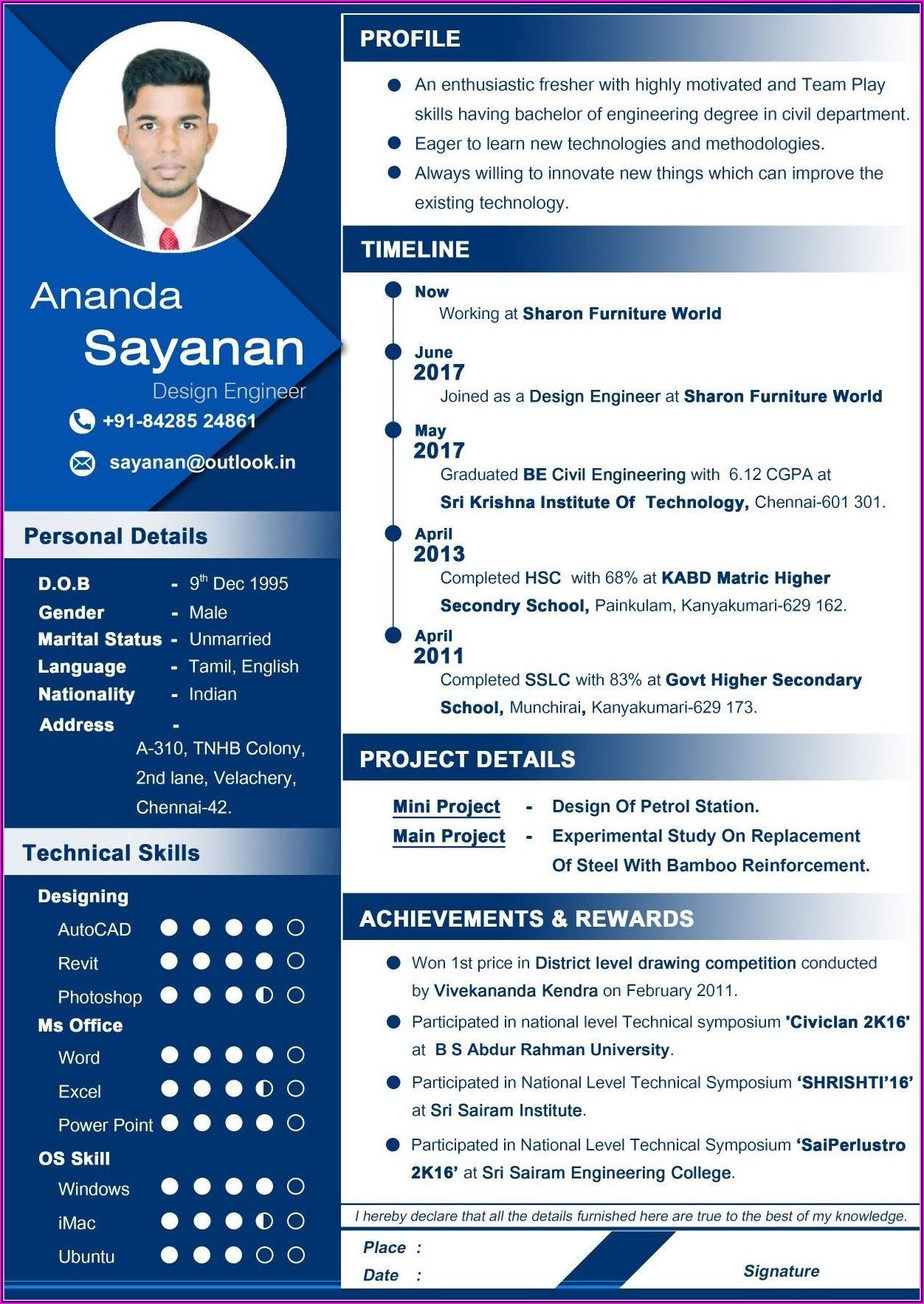 Online Resume Maker For Fresher Engineer Free