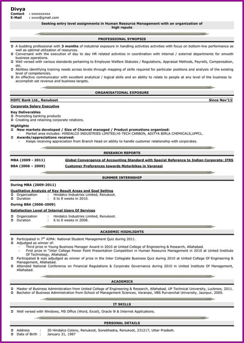 Online Resume Maker For Fresher With Photo