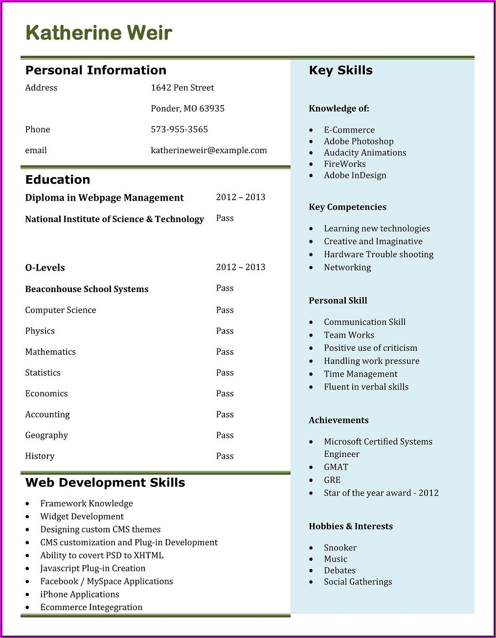Online Resume Maker Professional Free Download