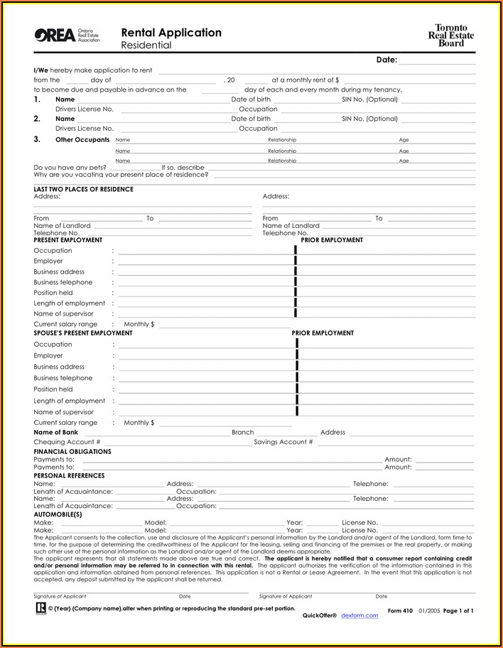 Ontario Rental Application Form 410 Fillable