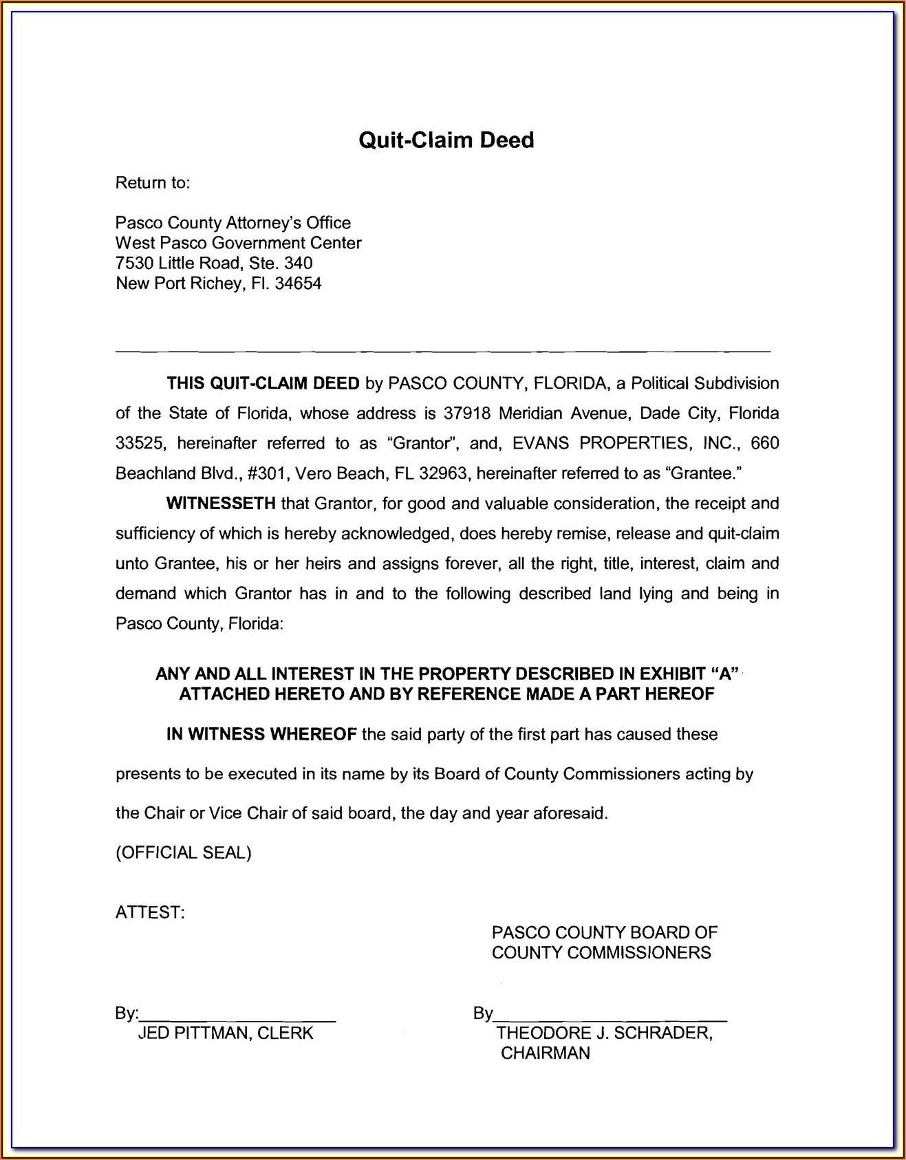 Orange County Fl Quit Claim Deed Form