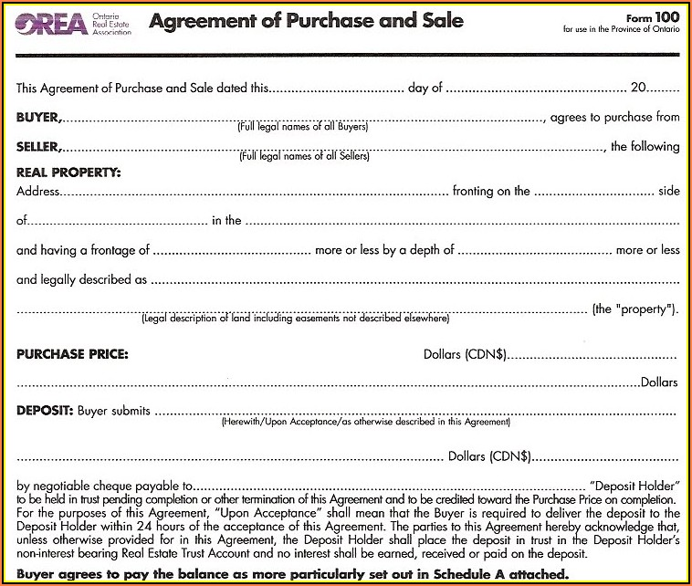 Orea Agreement Of Purchase And Sale Form 100 Fillable