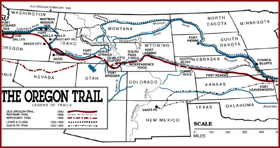 Oregon Trail Maps With Landmarks