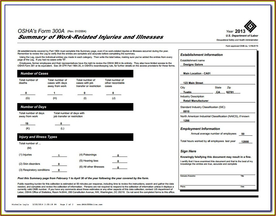 Osha Form 300a Pdf Fillable