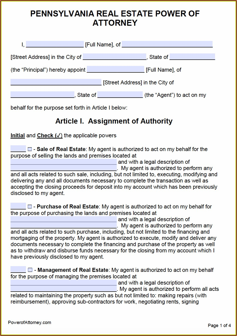 Pa Durable Power Of Attorney Form Pdf