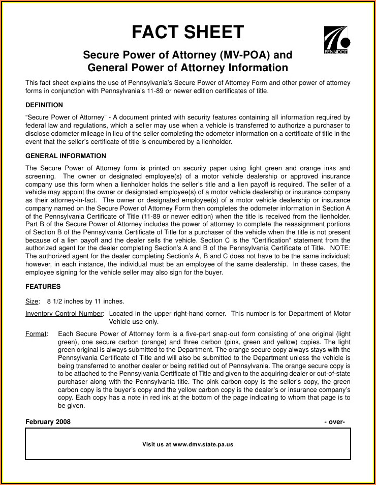 Pa General Durable Power Of Attorney Form