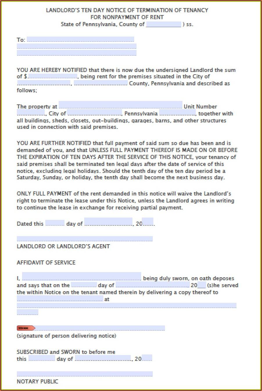 Pennsylvania Eviction Notice Form Free