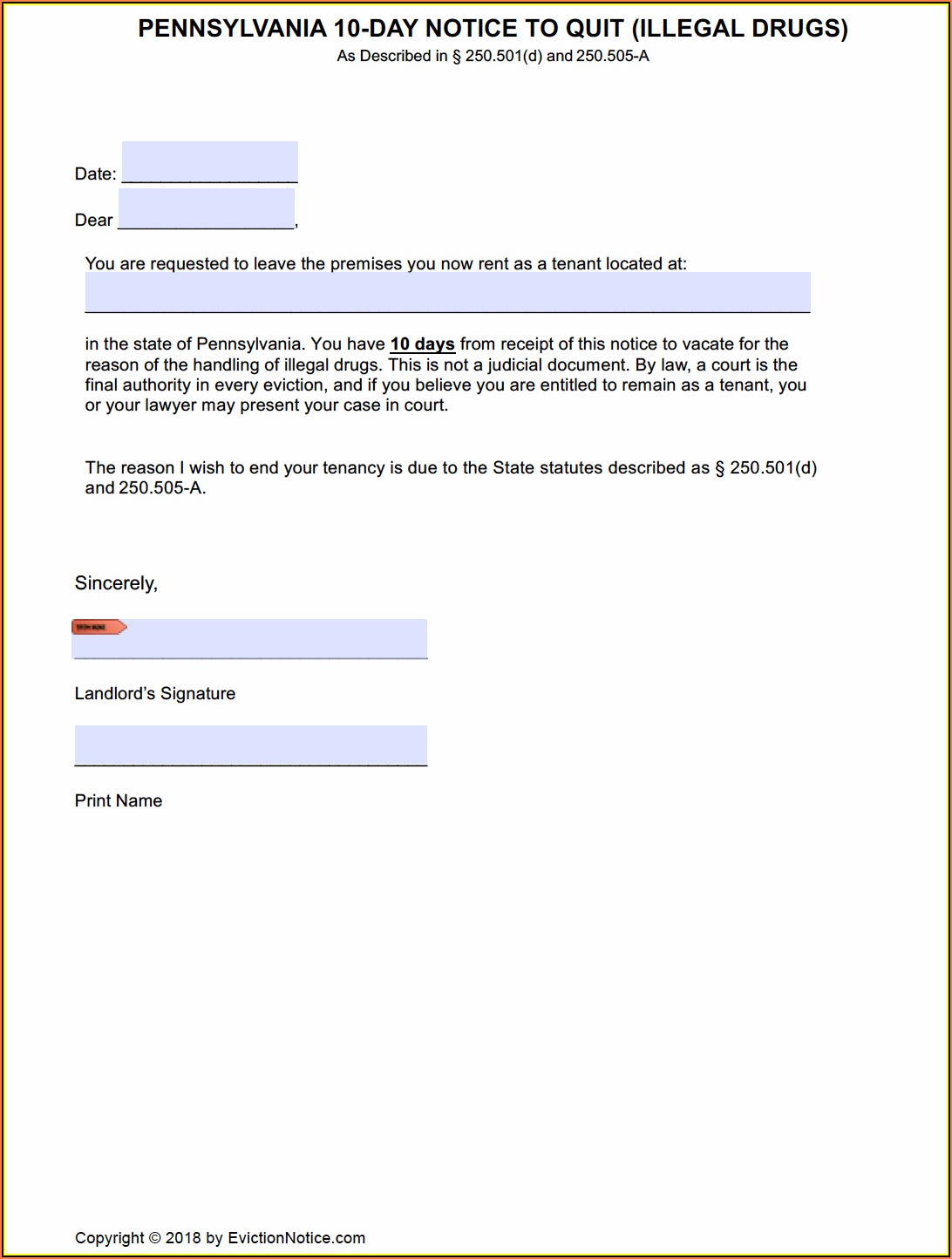 Pennsylvania Eviction Notice Form