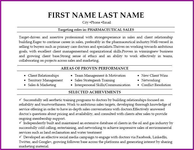Pharmaceutical Resume Template