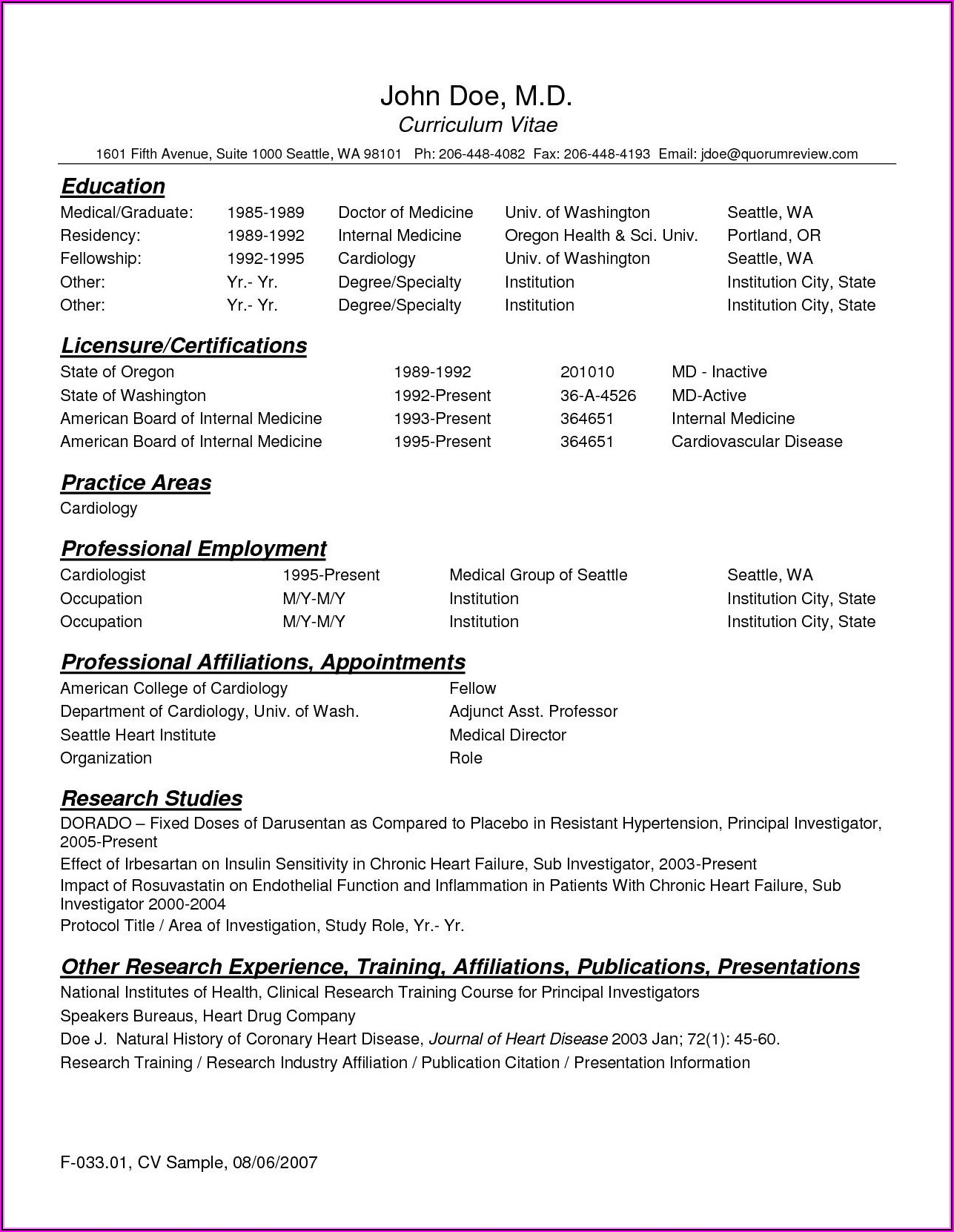 Physician Resume Template Word