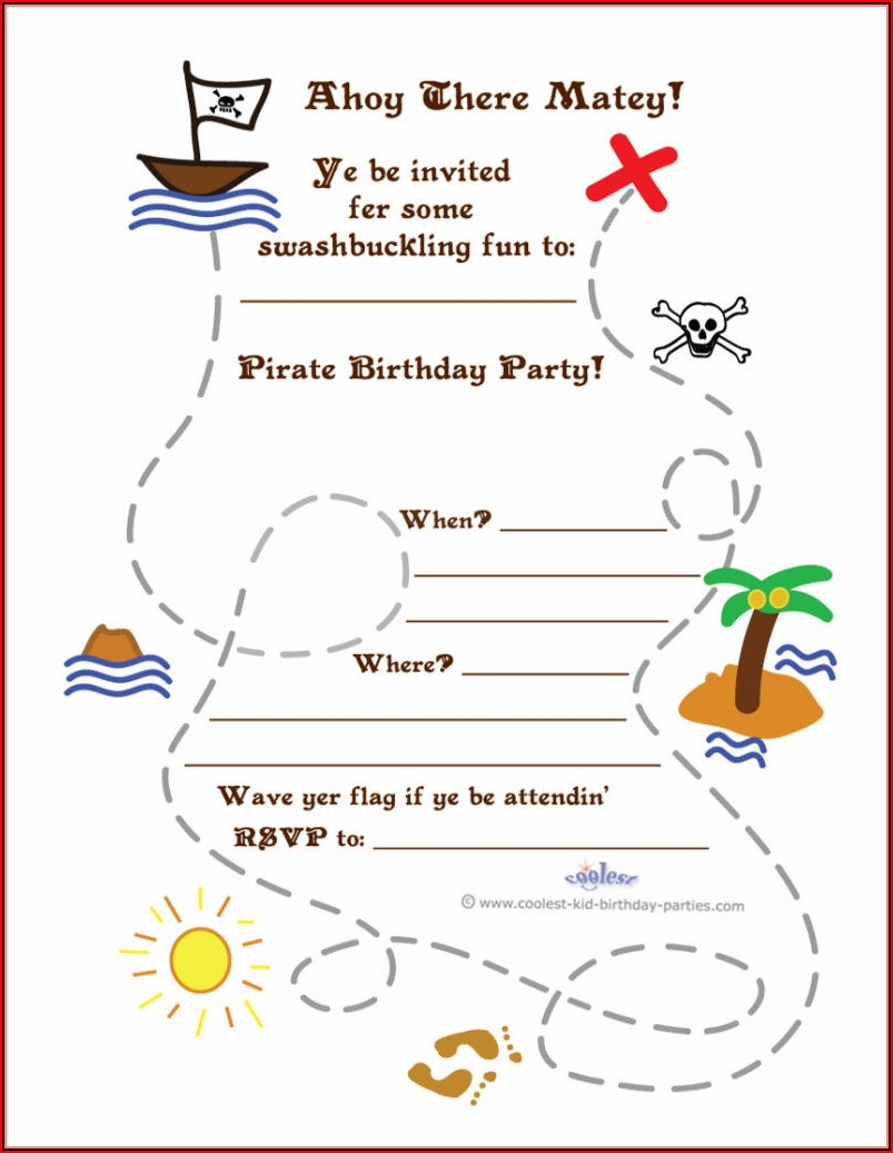 Pirate Treasure Map Template Printable