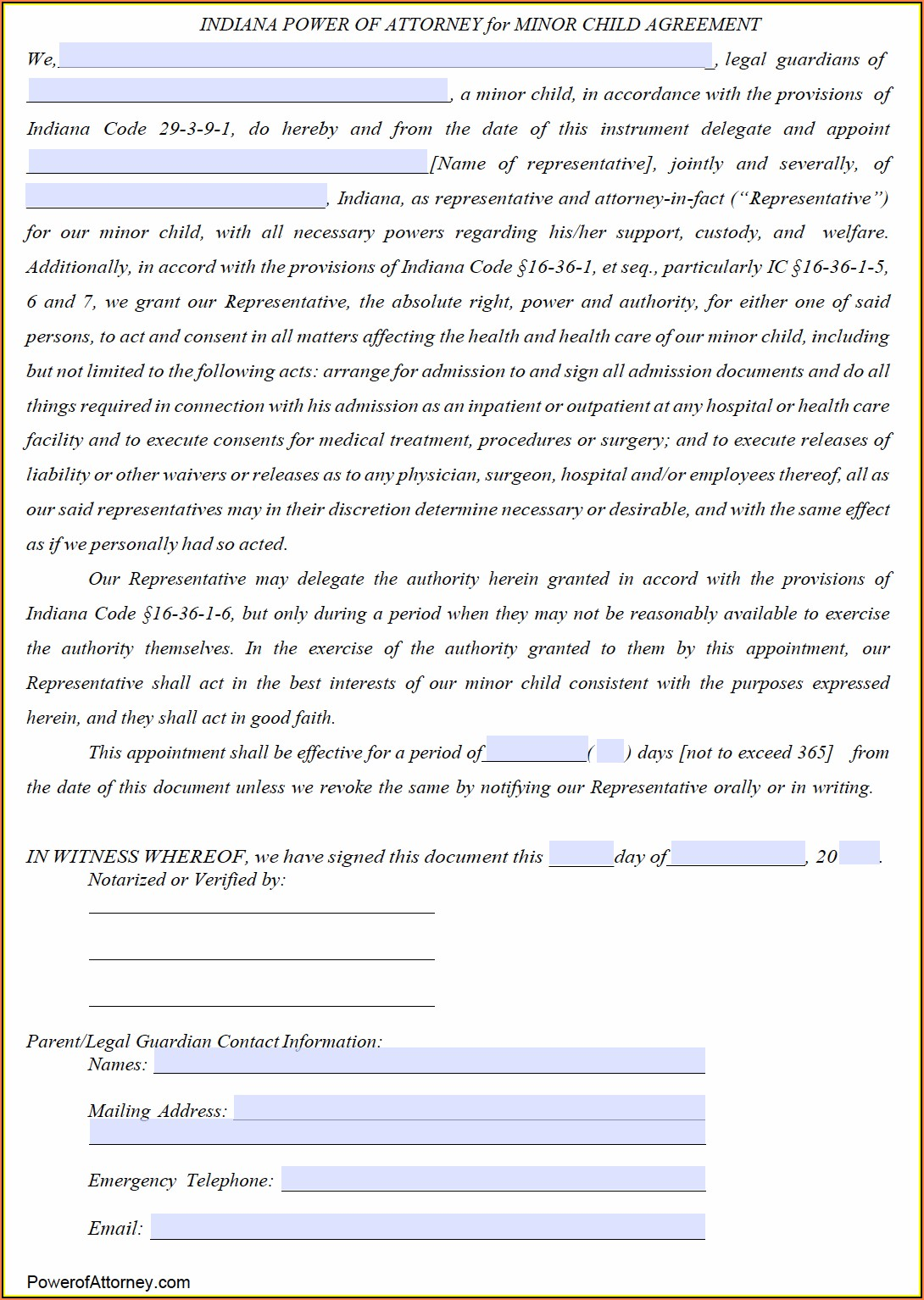 Power Of Attorney Form Indiana Pdf
