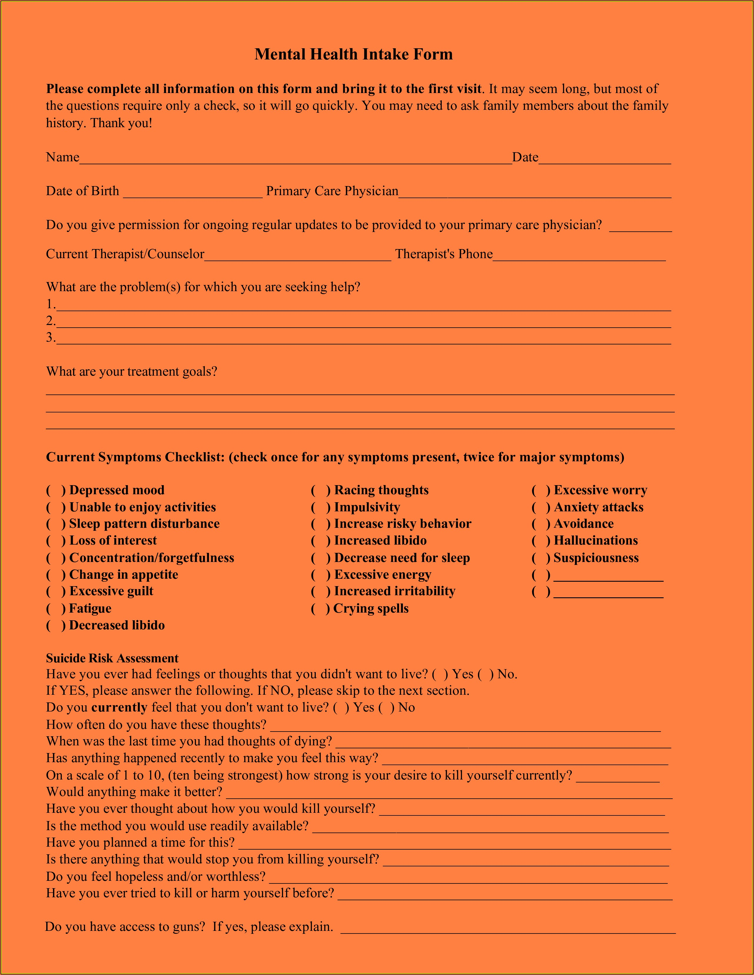 Premarital Counseling Intake Form