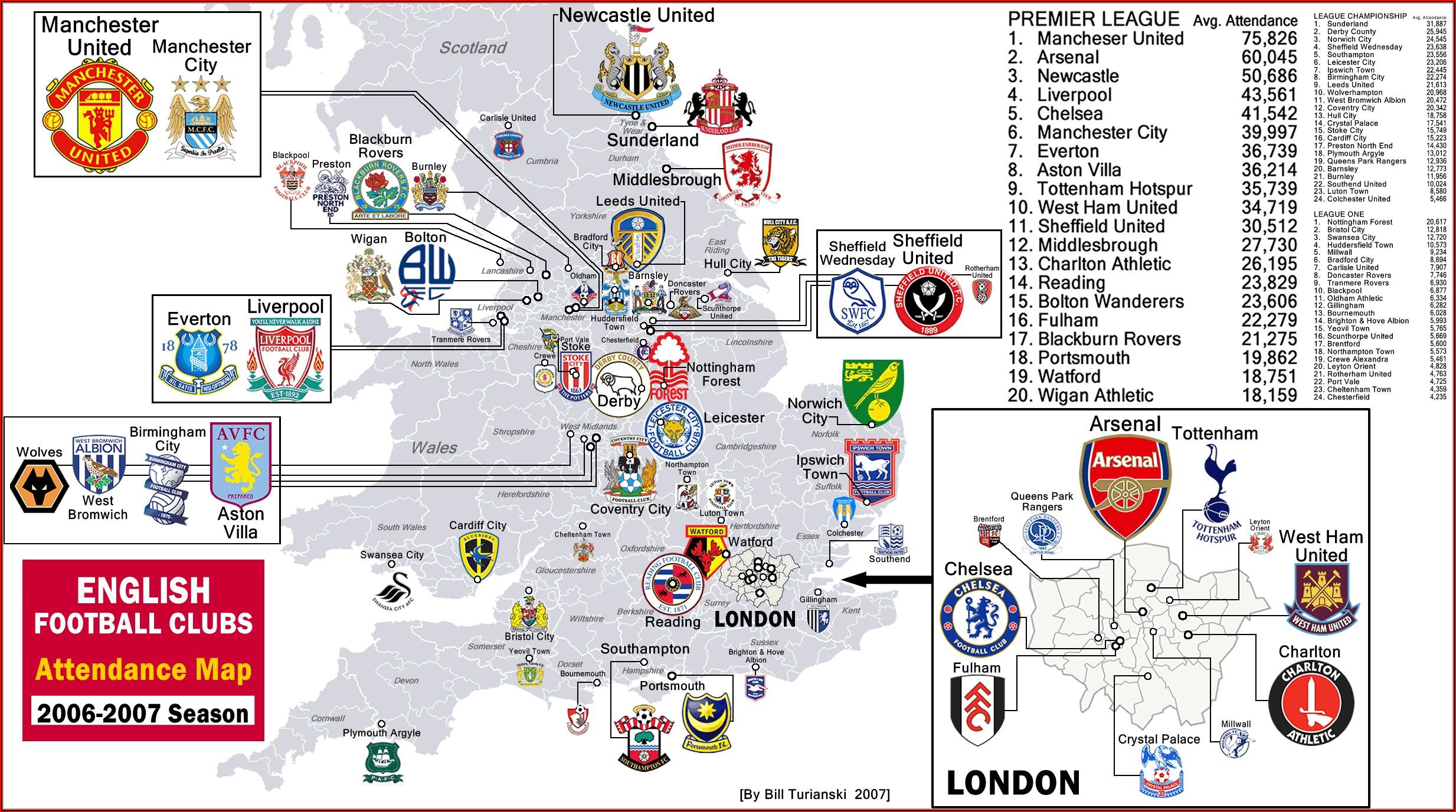Premier League Map Poster