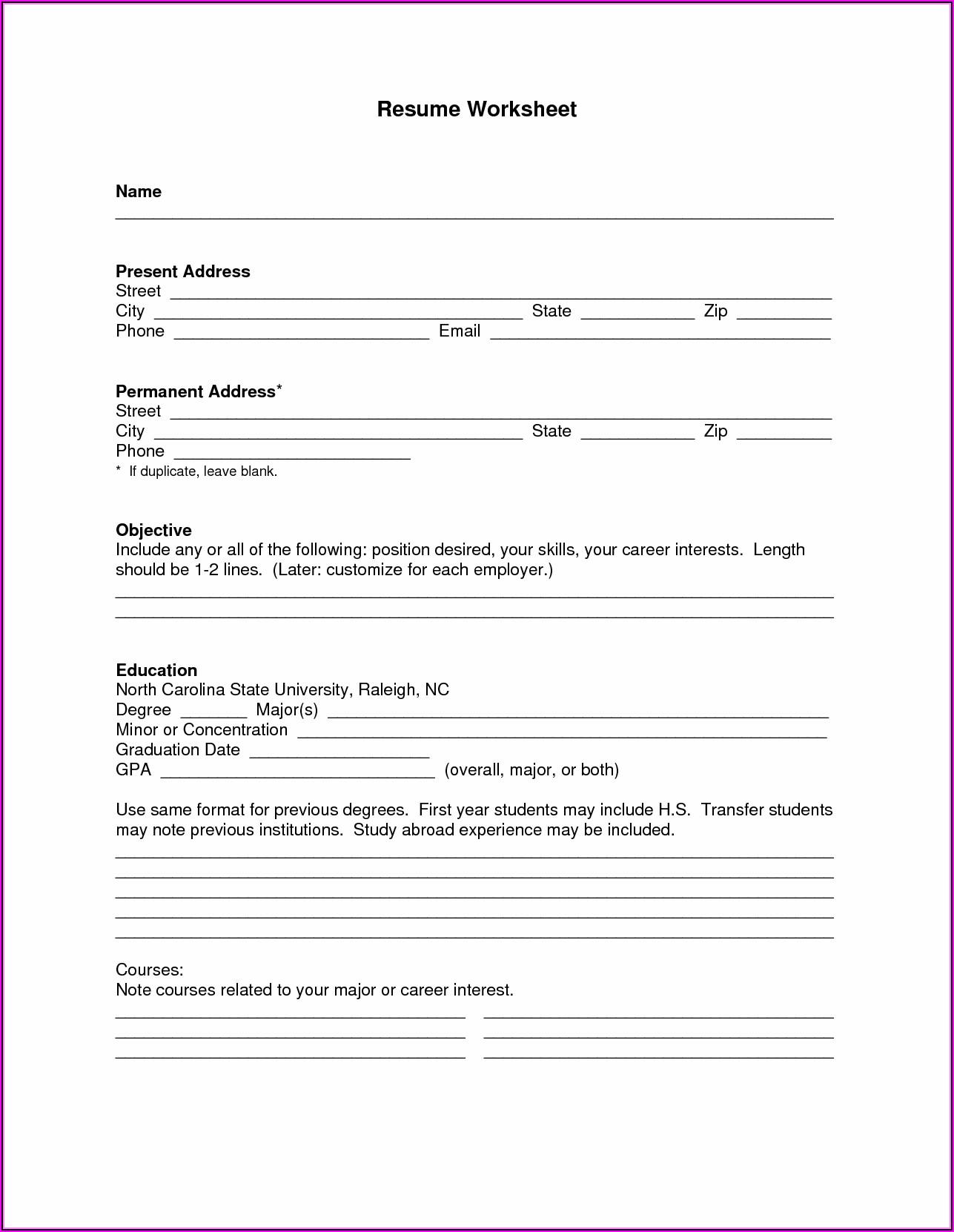 Printable Blank Resume Pdf