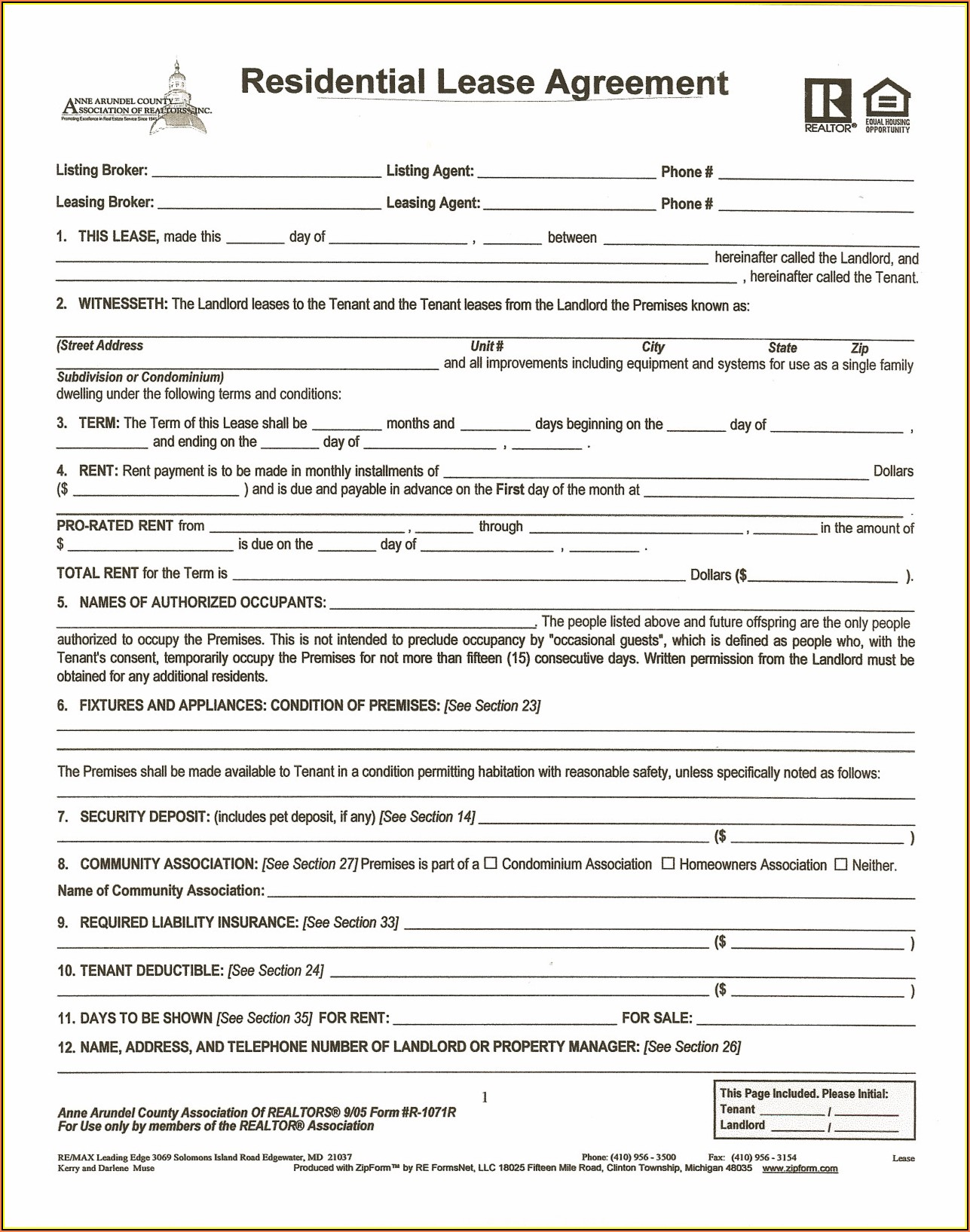 Printable House Rental Agreement Form