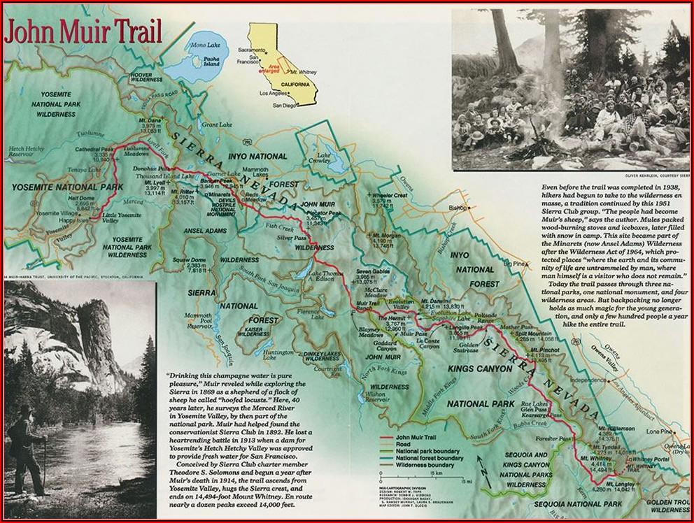 Printable Map Of John Muir Trail