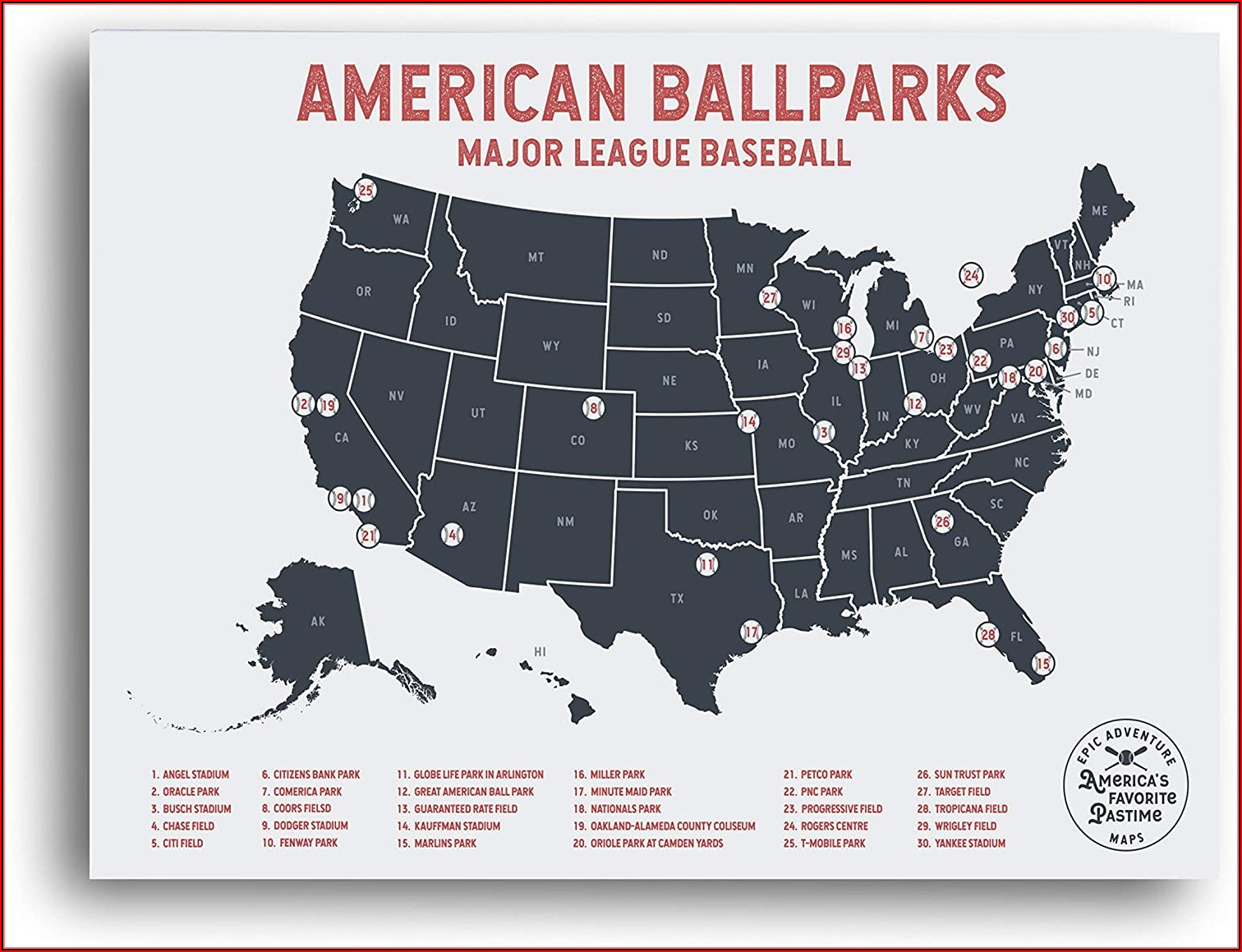 Printable Map Of Major League Baseball Stadiums