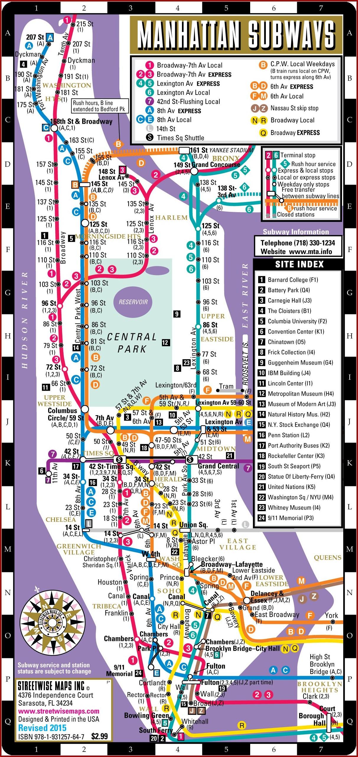 Printable Nyc Subway Map Manhattan