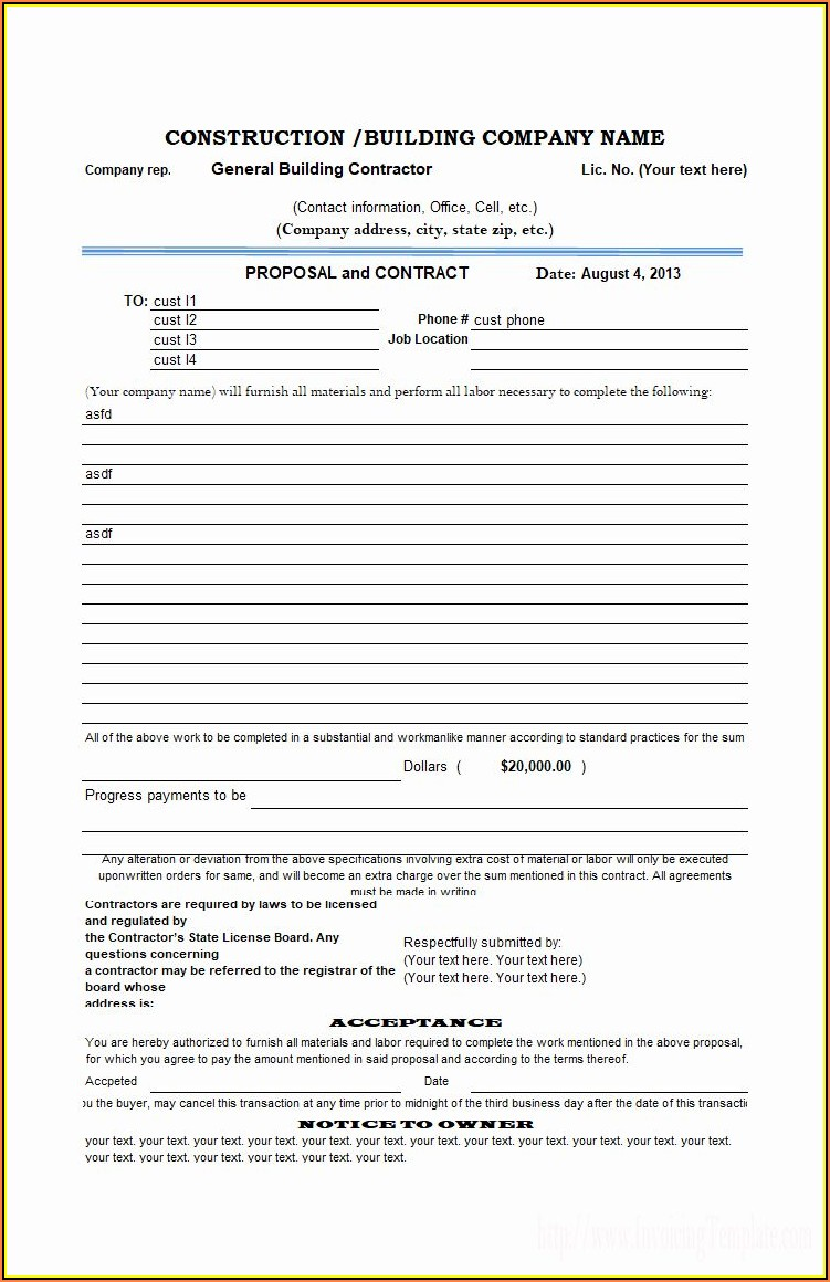 Printable Proposal Forms Free