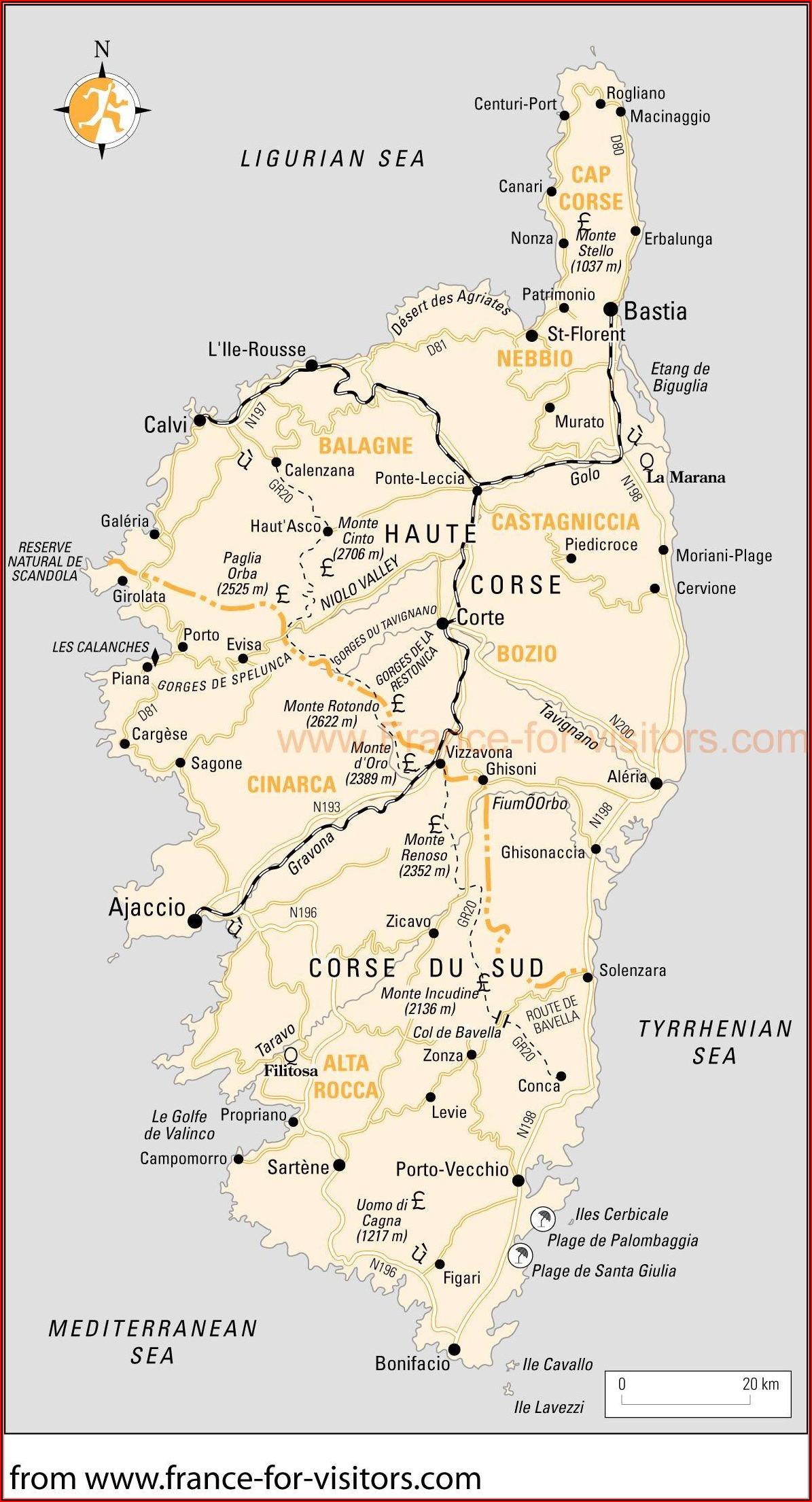 Printable Road Map Of Sardinia