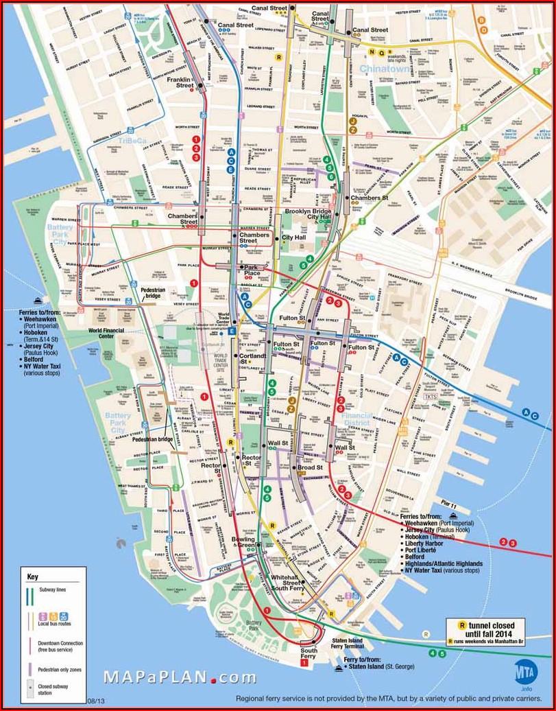 Printable Street Map Of New York City Manhattan