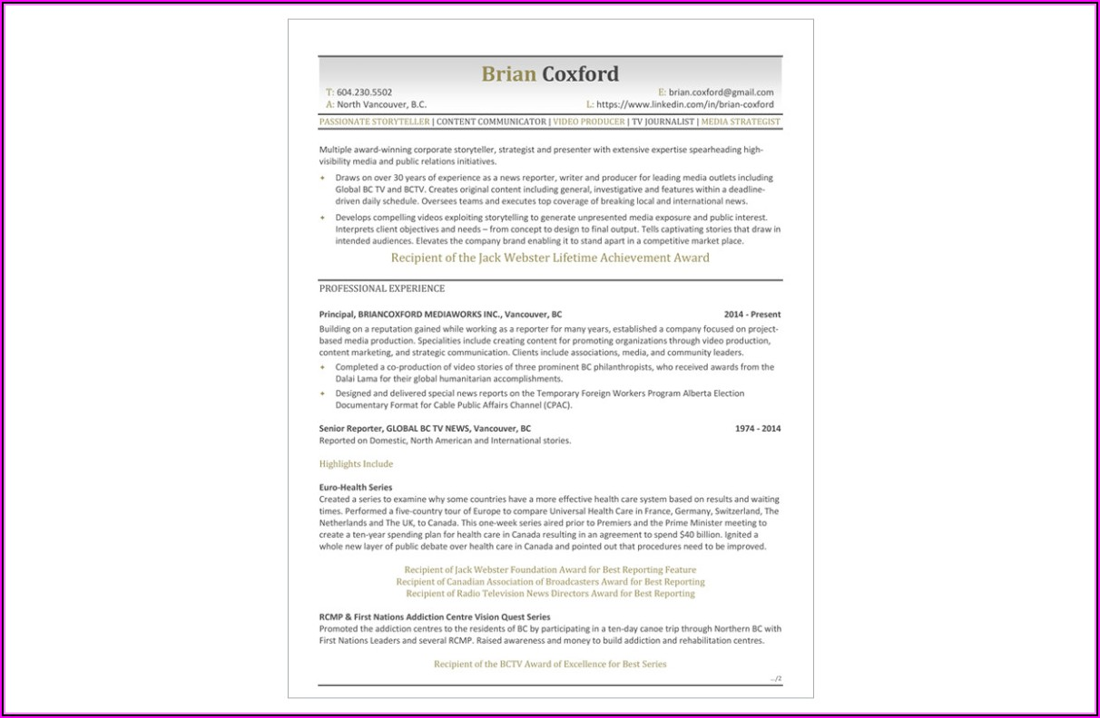 Professional Resume Writers In Vancouver Bc