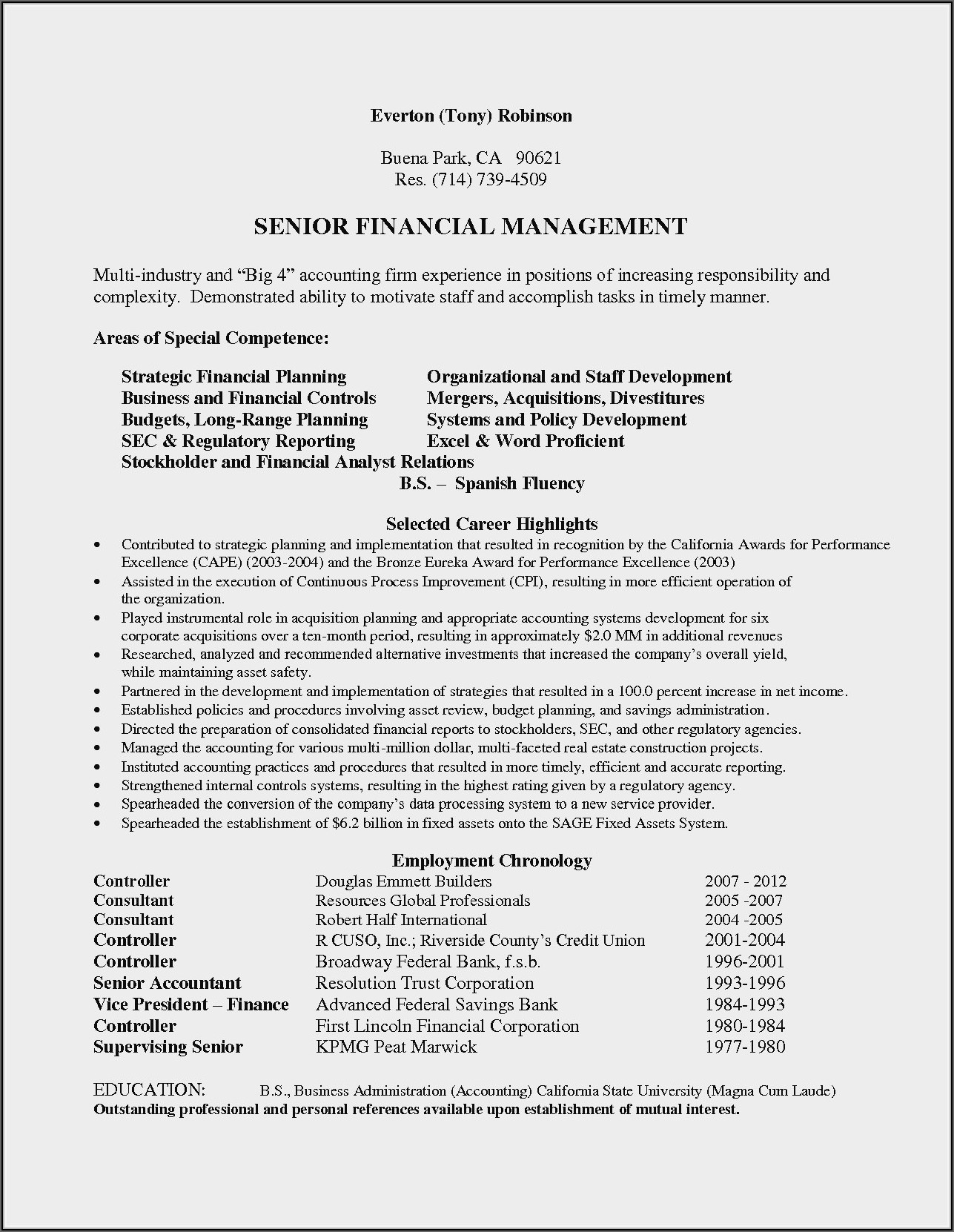 Professional Summary For Accountant Resume
