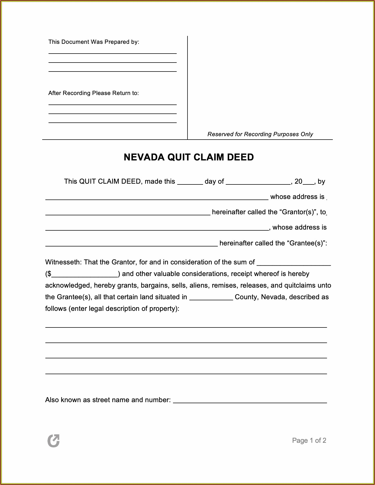 Quit Claim Deed Form Nevada Pdf