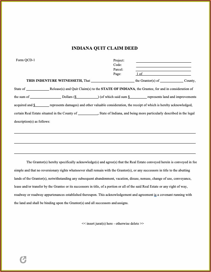 Quit Claim Deed Indiana Form Pdf