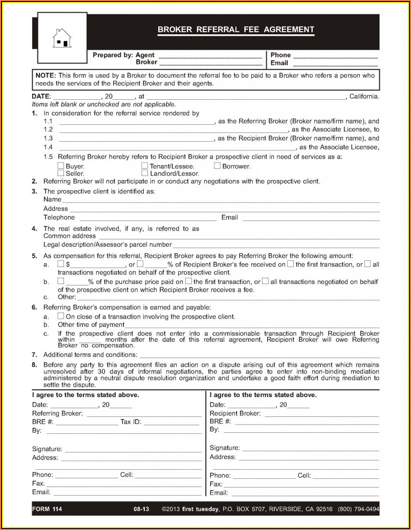 Real Estate Agent Referral Agreement Template