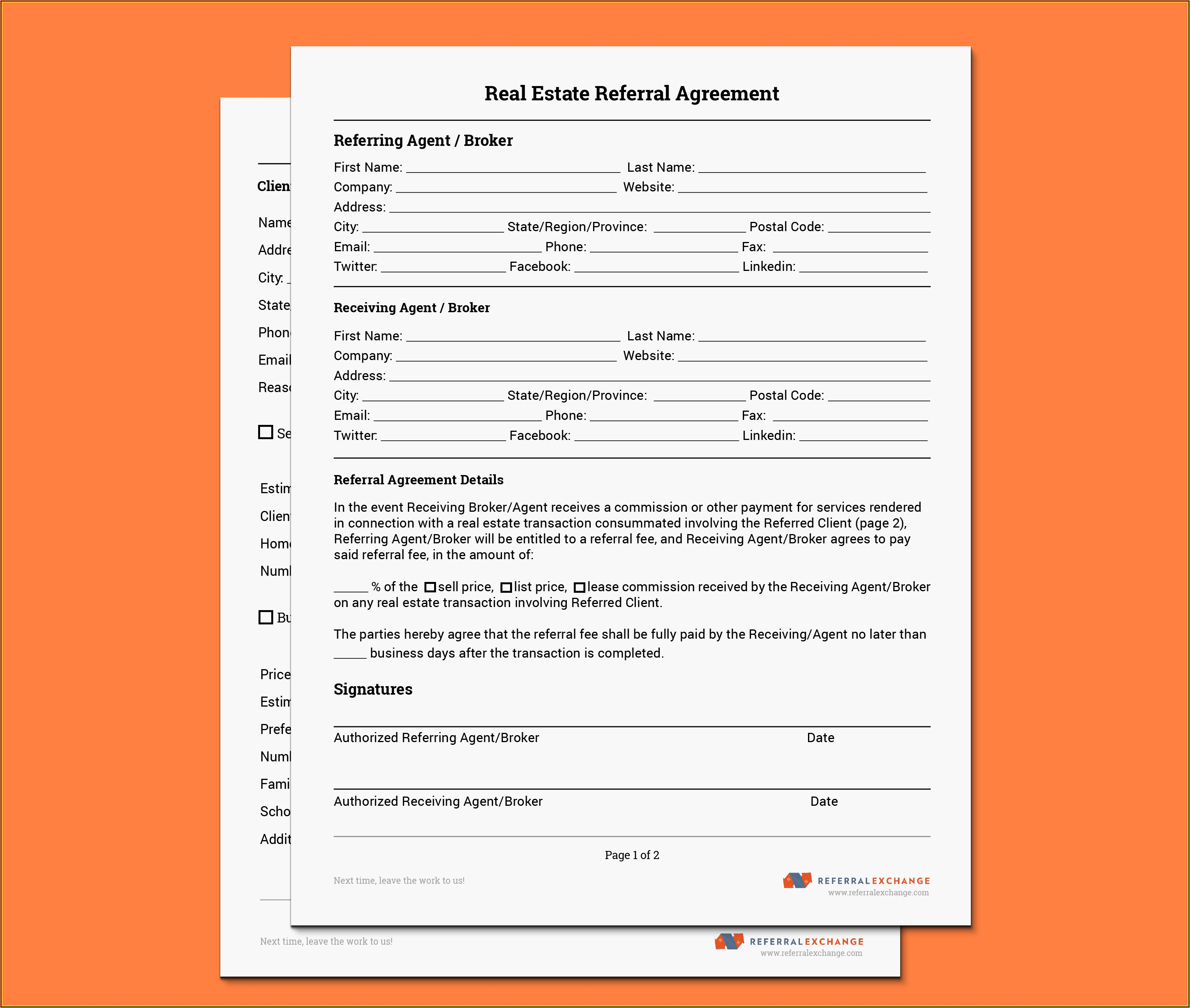Real Estate Agent Referral Fee Agreement