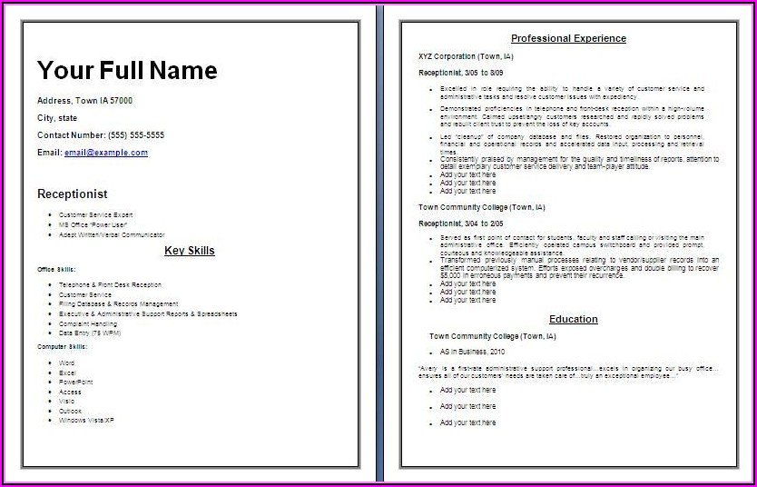 Receptionist Resume Template Free