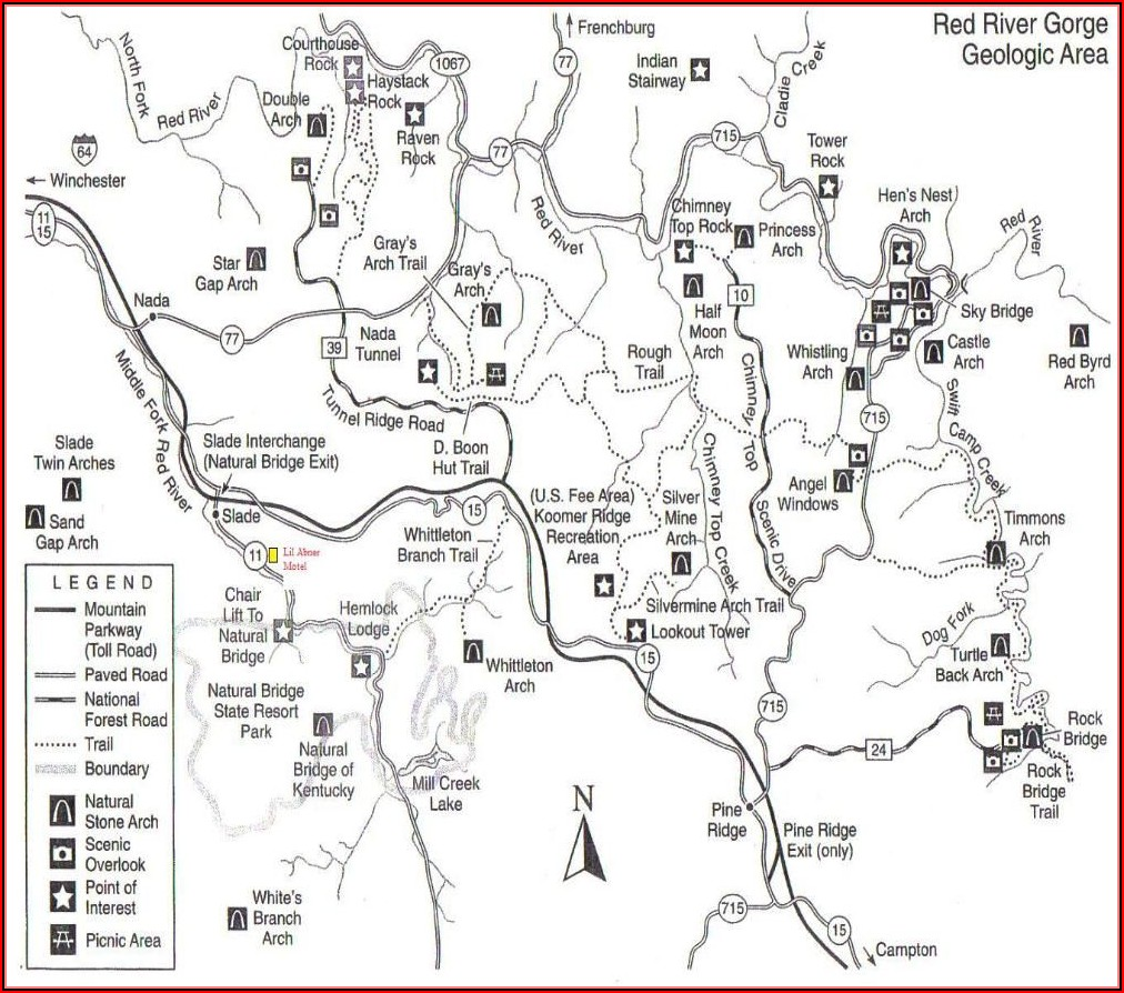 Red River Gorge Kentucky Trail Map