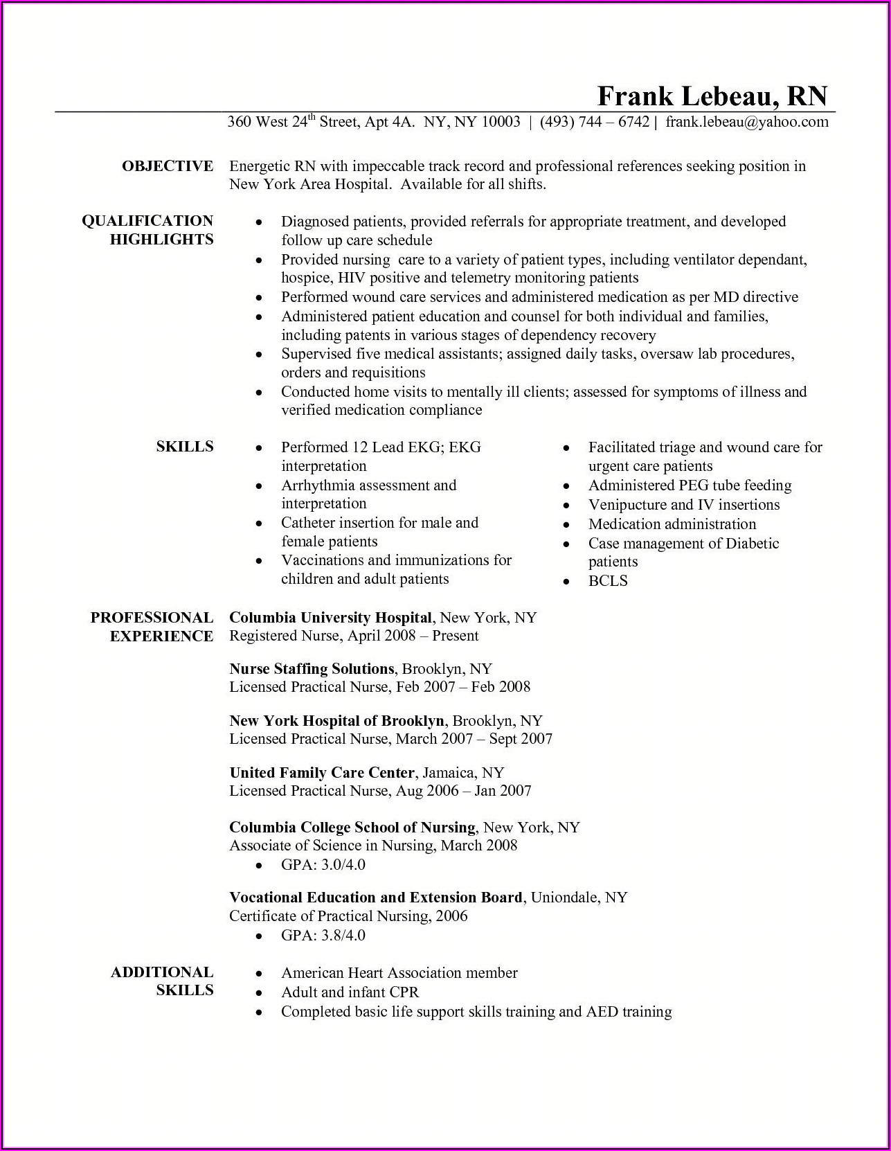 Registered Nurse Resume Skills Examples