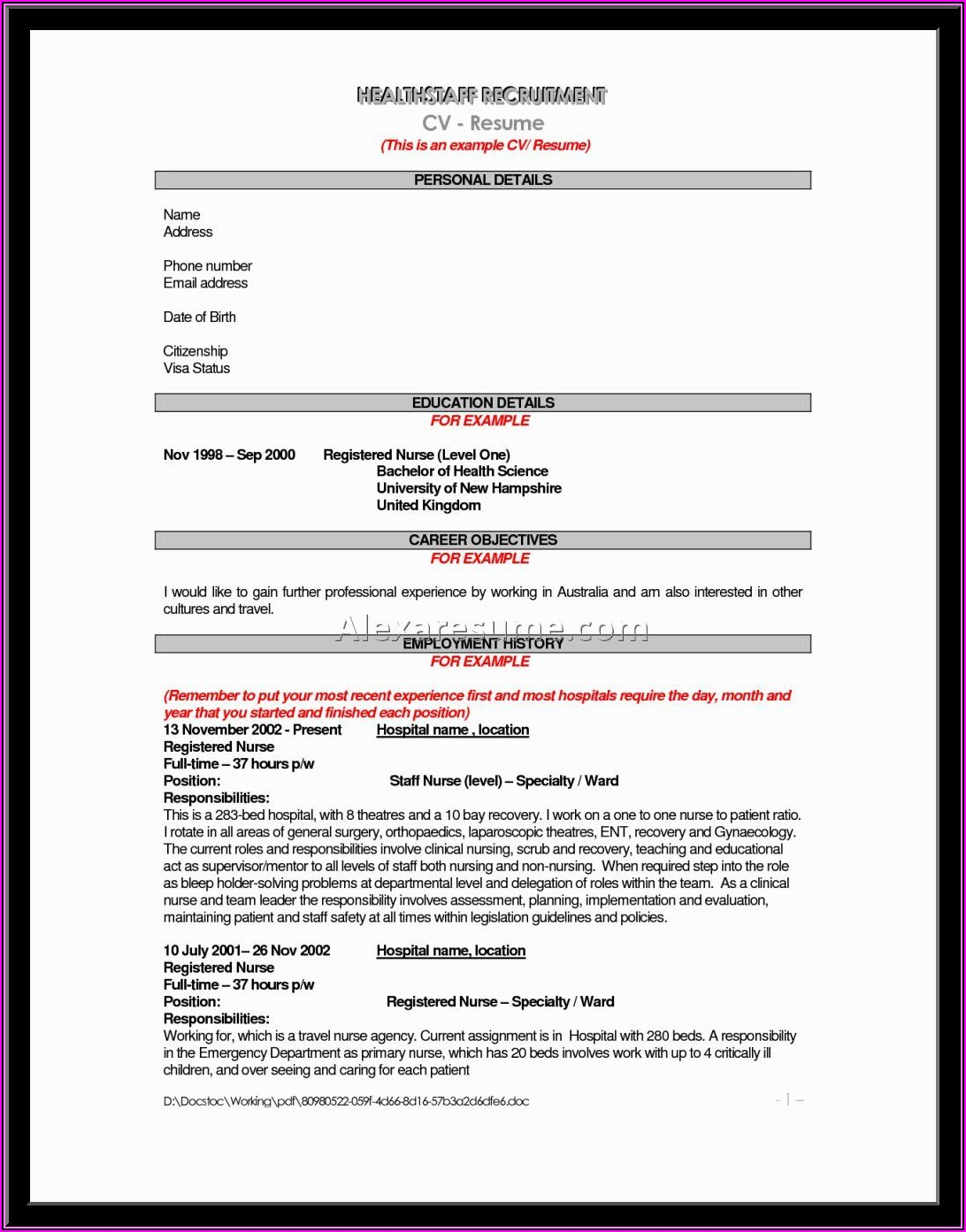 Registered Nurse Resumes Templates