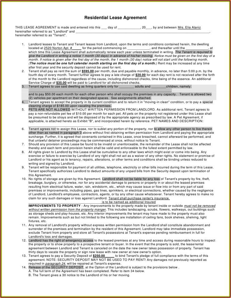 Rental Agreement Form Oregon Pdf