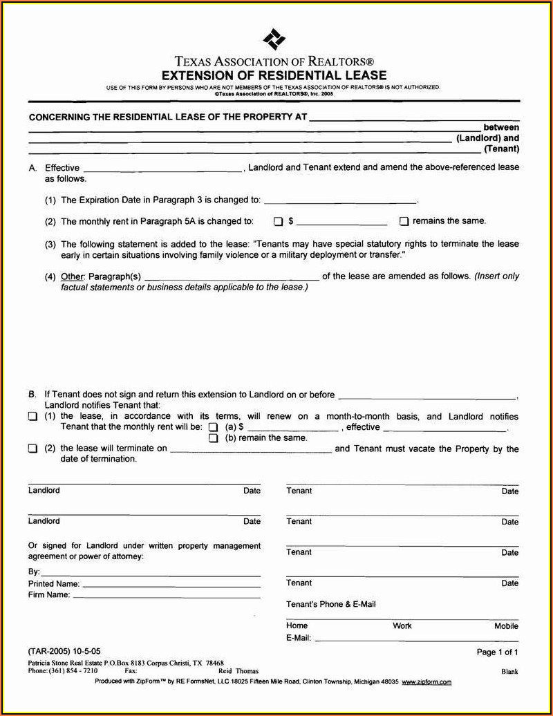 Rental Agreement Renewal Form Texas