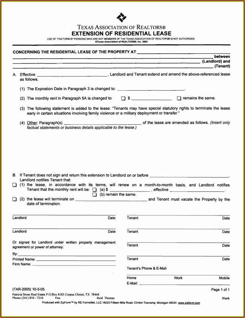 Rental Agreement Renewal Form Texas