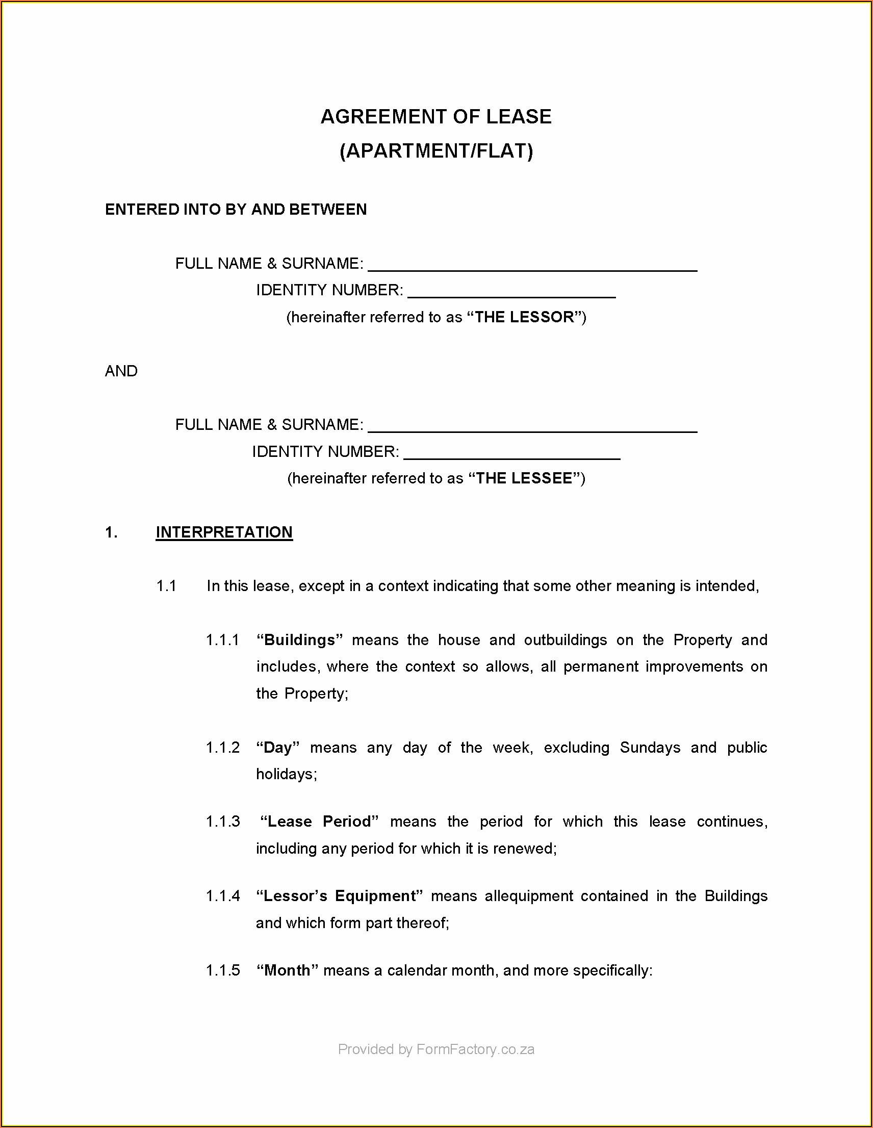 Rental Application Form Template Word South Africa