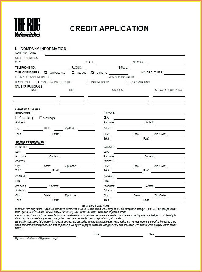 Rental Credit Application Form Template