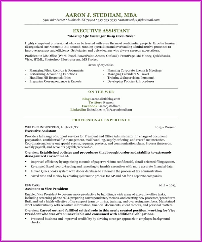 Resume Examples Executive Assistant